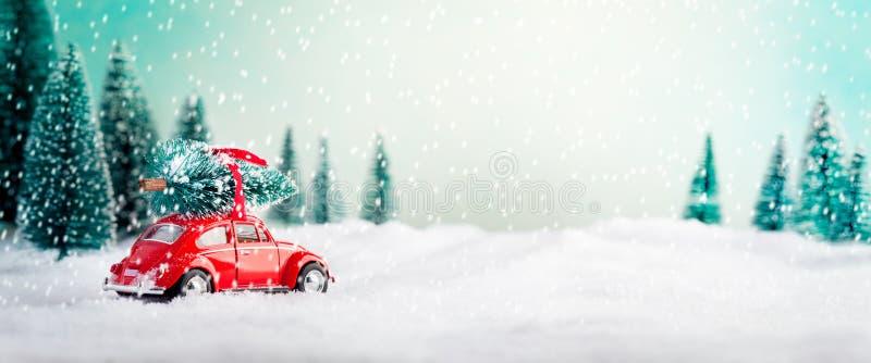 ?rbol de navidad que lleva del coche imagen de archivo libre de regalías