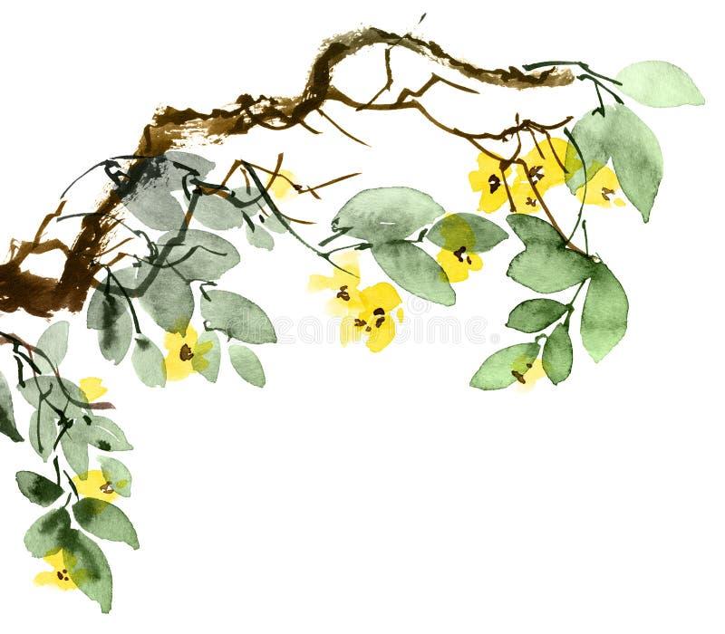 ?rbol del flor de la acuarela stock de ilustración