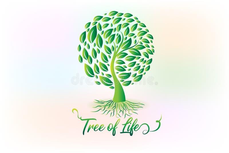 ?rbol del logotipo con s?mbolo de la ecolog?a de las hojas stock de ilustración