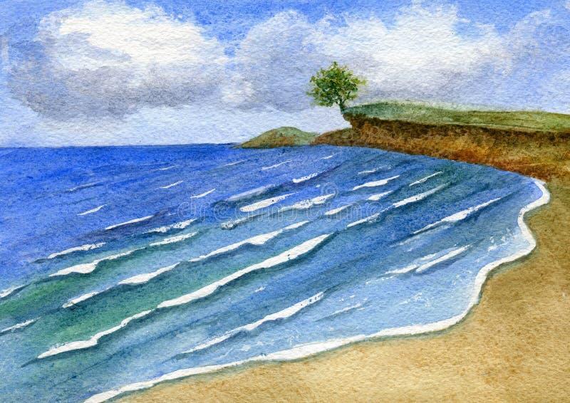 ?rbol solo sobre el mar libre illustration