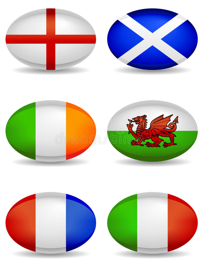 Free RBS 6 Nations Rugby Icons Stock Image - 18125541