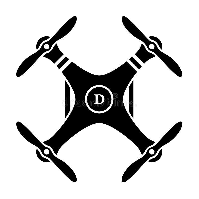 Rc寄生虫quadcopter黑色标志 向量例证
