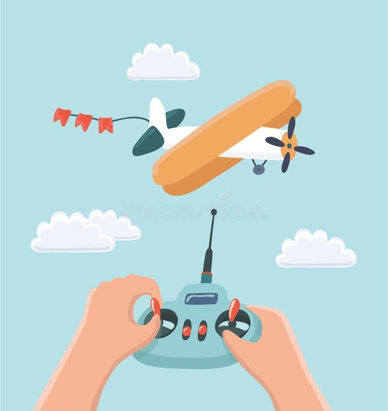 RC飞机和无线电遥控,传染媒介例证 皇族释放例证