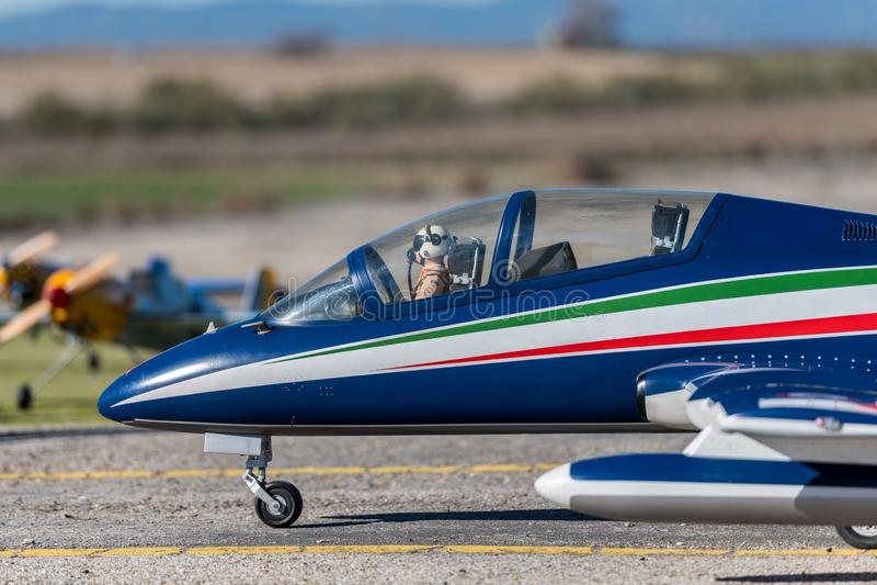 RC model airplane Aermacchi MB 339. RC model Aermacchi MB 339 turbine powered royalty free stock photography