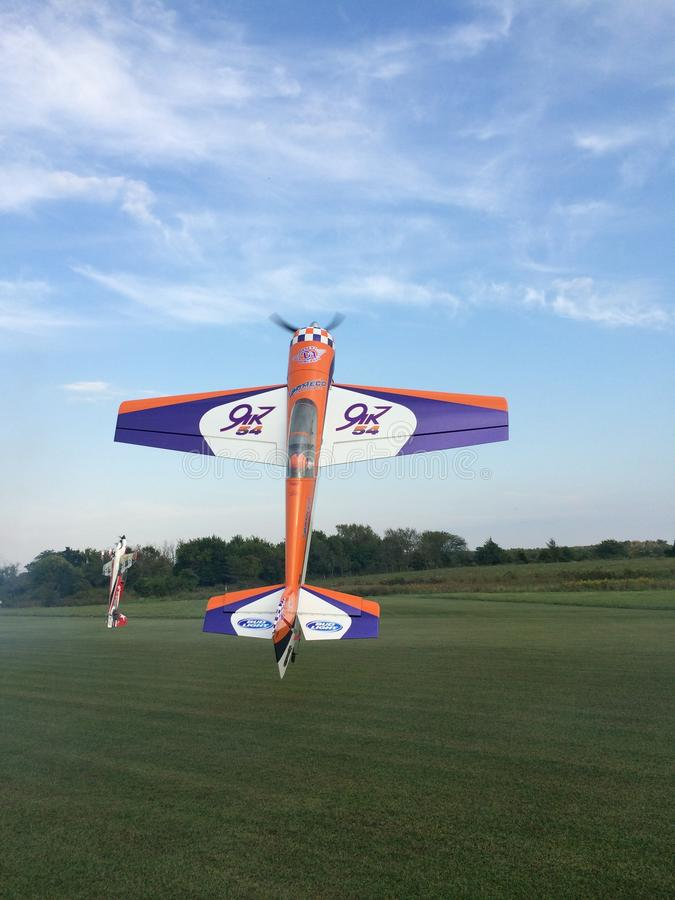 RC plane hovering royalty free stock image