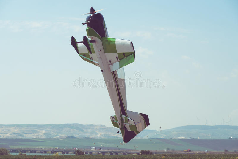 RC plane hovering. Over close ground royalty free stock photo