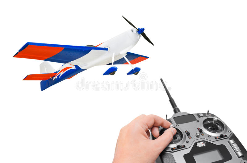 RC plane and radio remote control. Isolated on white background stock photos