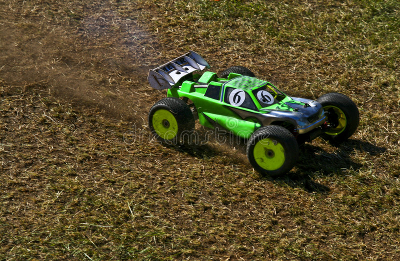 RC rally car. RC toy car in a rally championship race stock photos