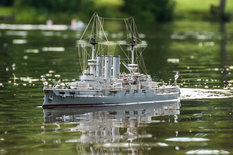RC scale model ship at competitions. RC scale model ship at competitions, World Championships class NS NAVIGA 2017, Orneta, Poland stock image