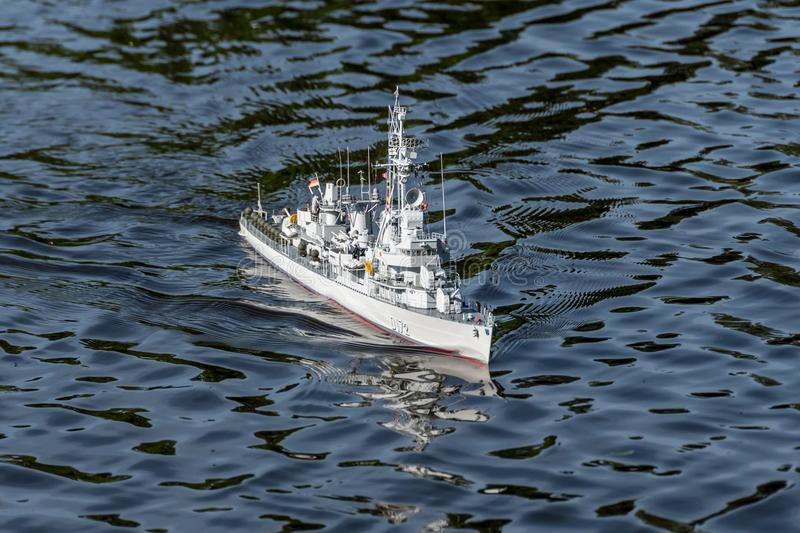 RC scale model ship at World Championships class NS NAVIGA. RC scale model ship at competitions, World Championships class NS NAVIGA 2017, Orneta, Poland stock images