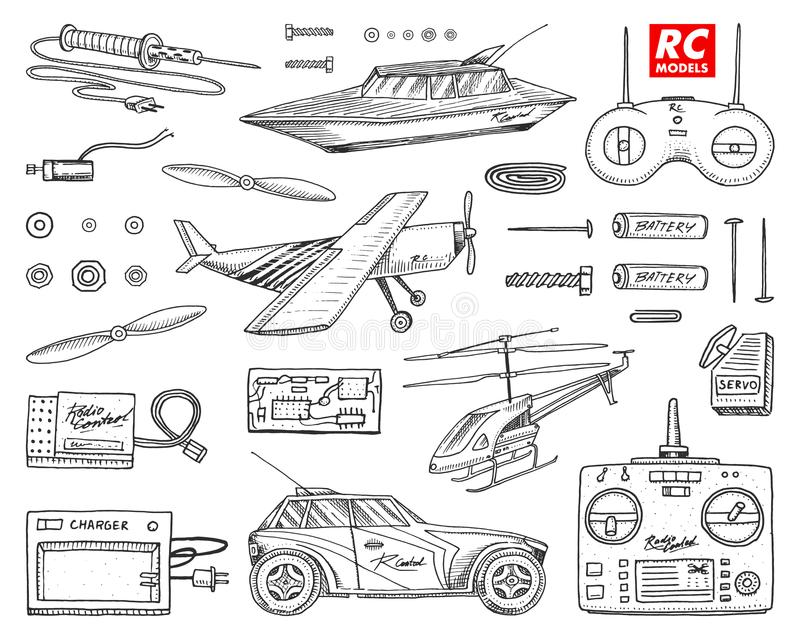 RC transport, remote control models. toys or instruments. set details. devices, equipment, tools for service and. Technical repair. boat or ship, technologies royalty free illustration