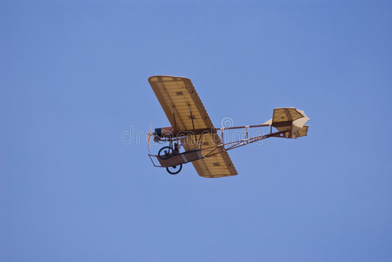 Rc vintage airplane in high flying stock images