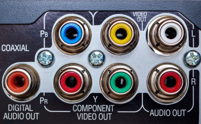 RCA connections on the back of a DVD player stock photography