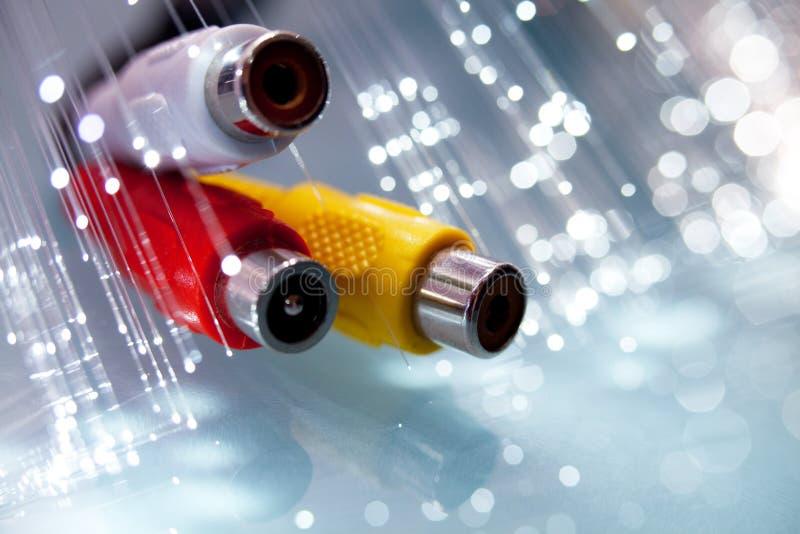 Rca plugs with optical fibers stock photos