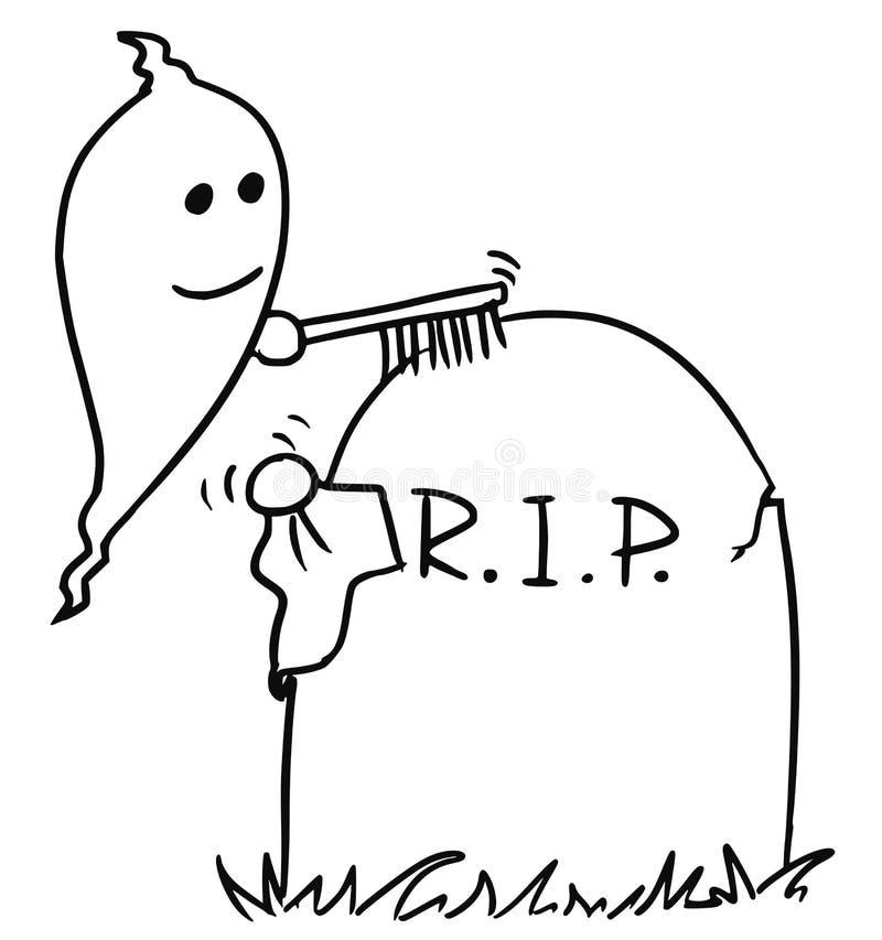 RCartoon di Vecto del fantasma che pulisce la tomba della pietra tombale royalty illustrazione gratis