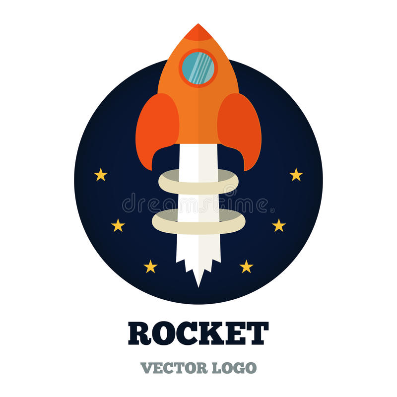 Rcketembleem voor nieuwe zaken, opstarten Vector stock illustratie