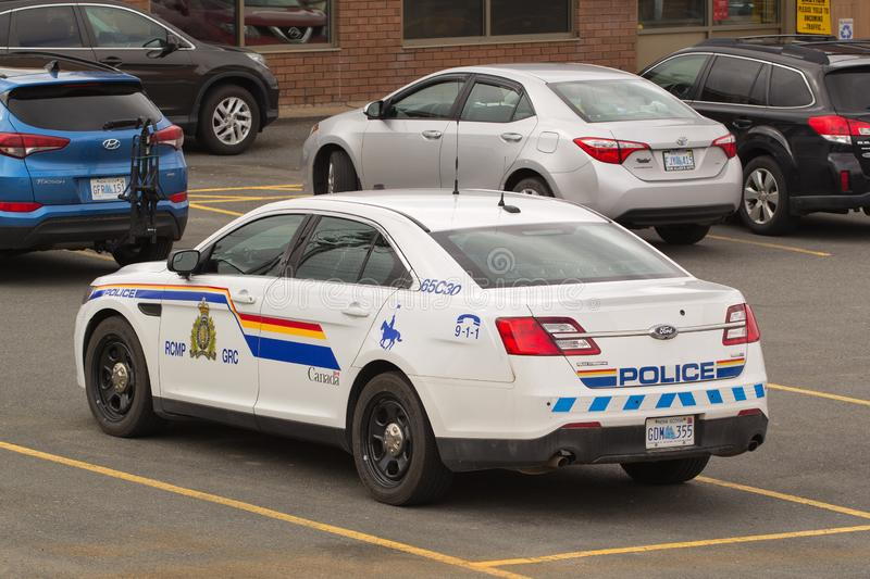 RCMP Cruisers. Stewiacke, Canada - May 09, 2019: Royal Canadian Mounted Police or RCMP cruiser in parking lot. The RCMP is Canada`s federal and national police stock photos