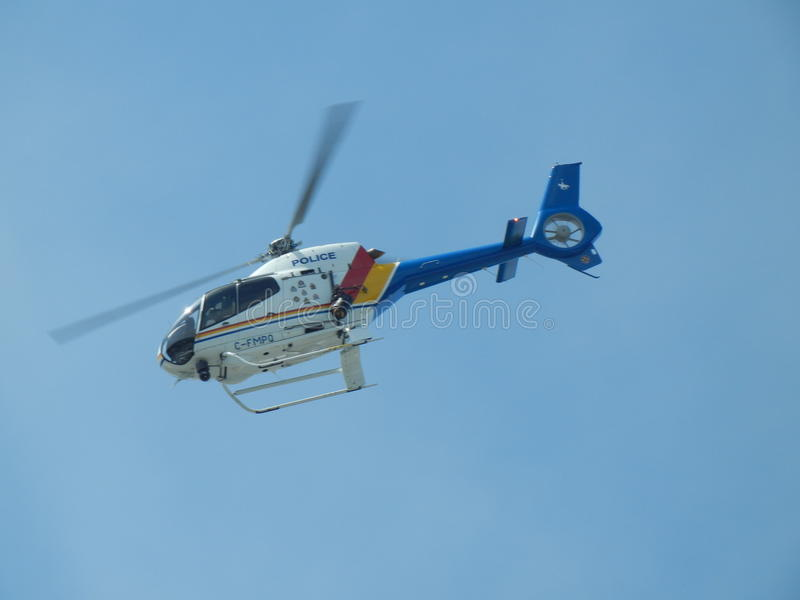 RCMP Helicopter. Air One, Metro Vancouvers police helicopter royalty free stock photography
