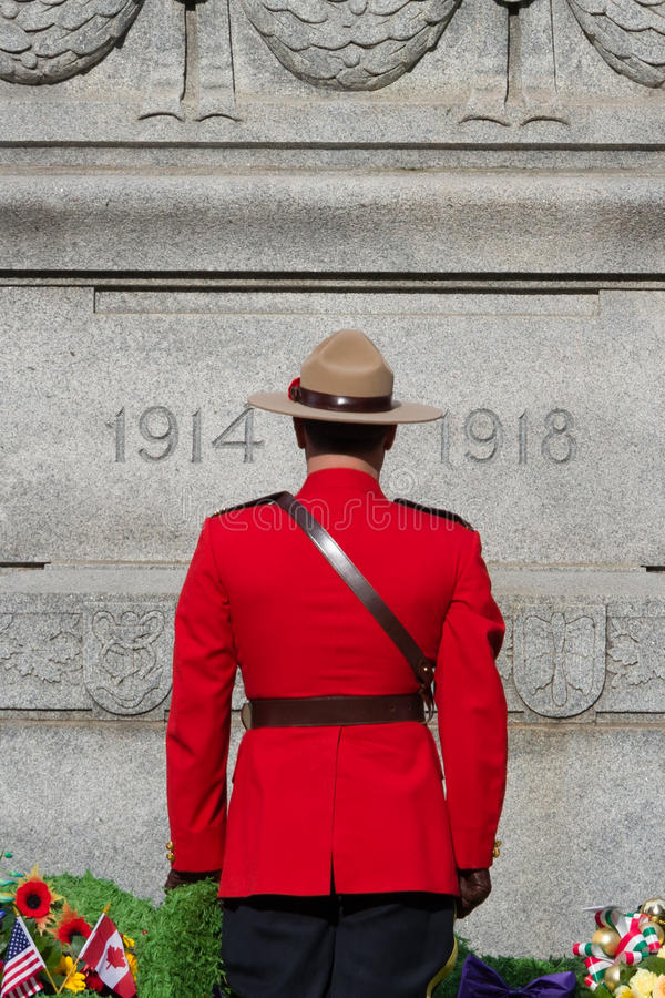 RCMP on Remembrance Day stock photography