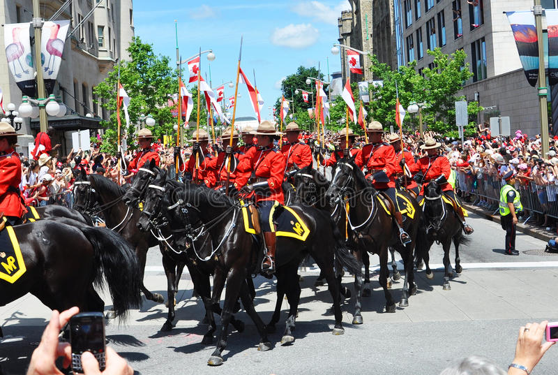 RCMP riding in Canada Day, Ottawa. RCMP riding in 2011 Canada Day, Ottawa royalty free stock photography