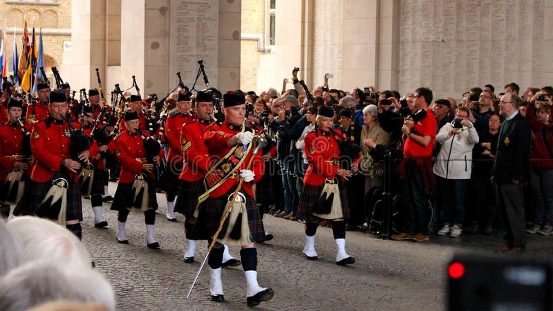 RCMP ståtar i Ypres royaltyfri bild