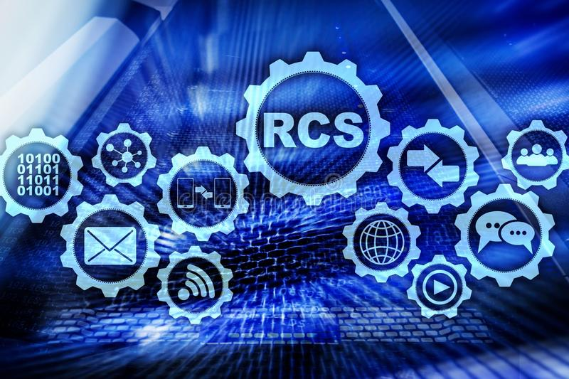 RCS Rich Communication Services ommunication Protokoll Getrennt auf Wei? lizenzfreie abbildung