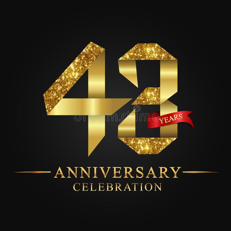 43rd anniversary years celebration logotype. Logo ribbon gold number and red ribbon on black background. Numbers style gold foil for logo, anniversary and etc royalty free illustration