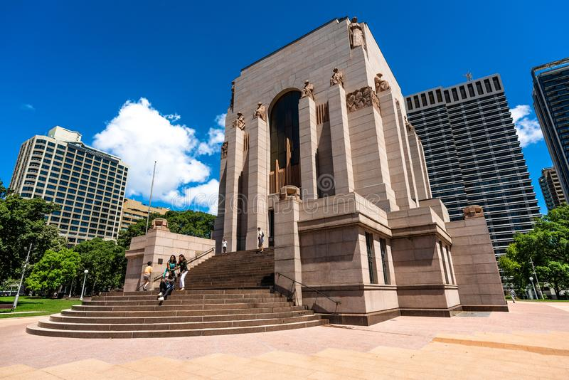 Exterior view of Anzac memorial with tourists on stairs in Sydney Australia stock photography