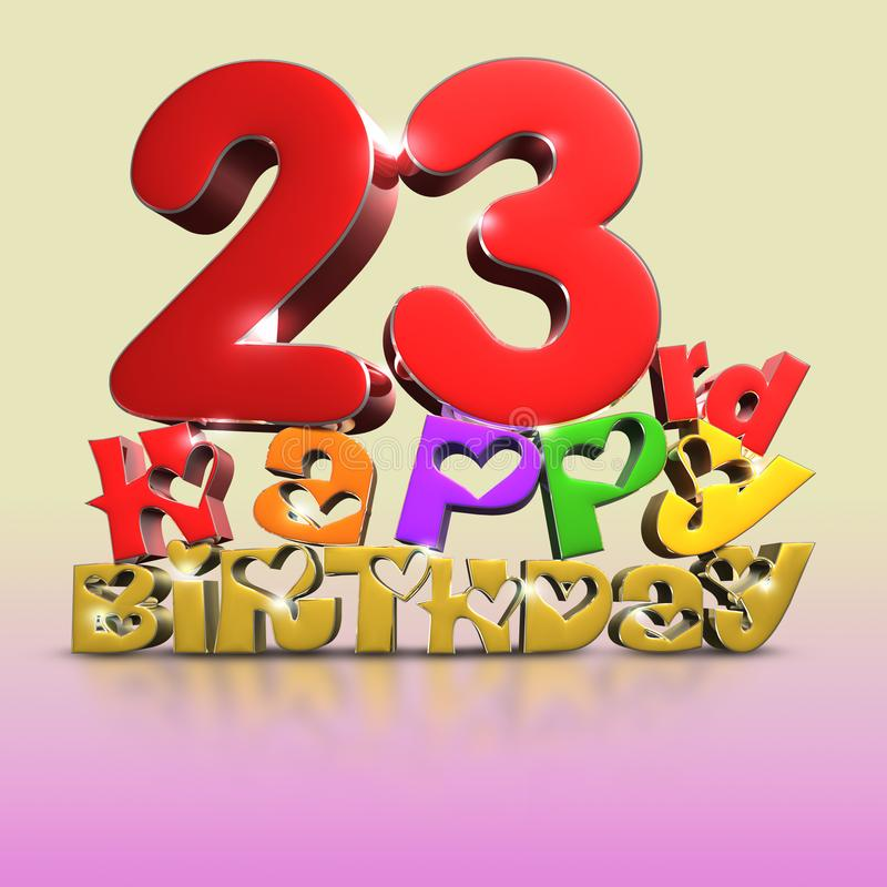 23 rd  Happy Birthday 3d on a creamy pink tone background.with Clipping Path royalty free illustration