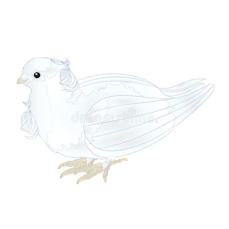 Rd leuke kleine sier witte duif op een witte uitstekende vector editable illustratie als achtergrond royalty-vrije illustratie