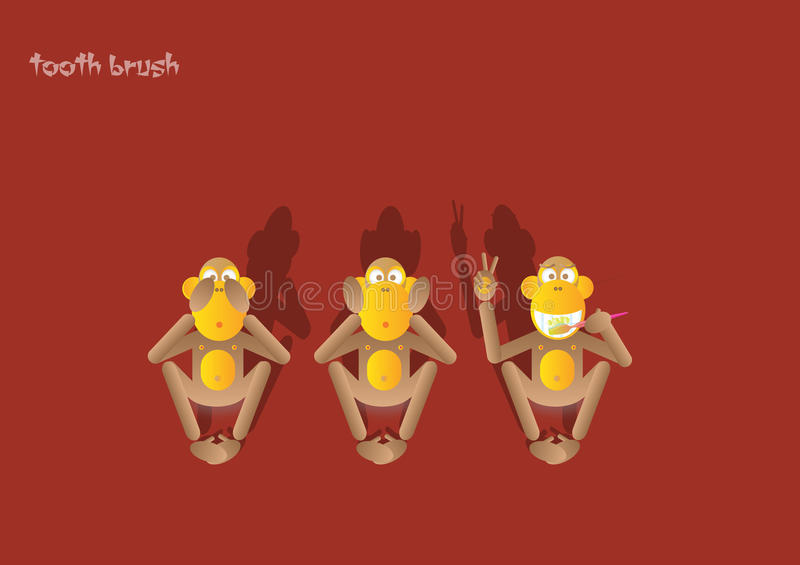 1-the 3rd małpa ilustracja wektor