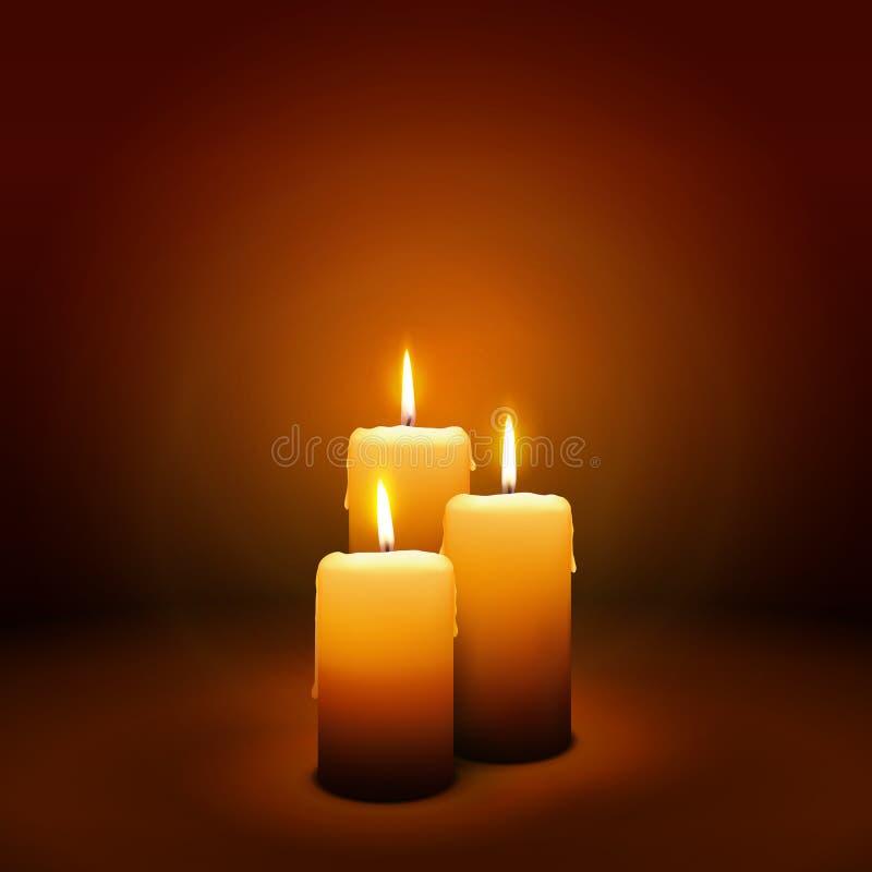 3rd Niedziela adwent blask świecy - Trzeci świeczka - royalty ilustracja