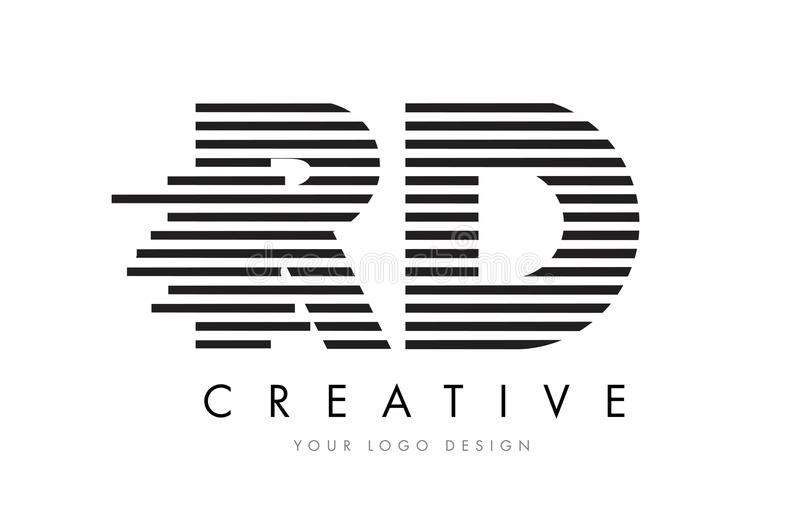 RD R D Zebra Letter Logo Design with Black and White Stripes royalty free illustration