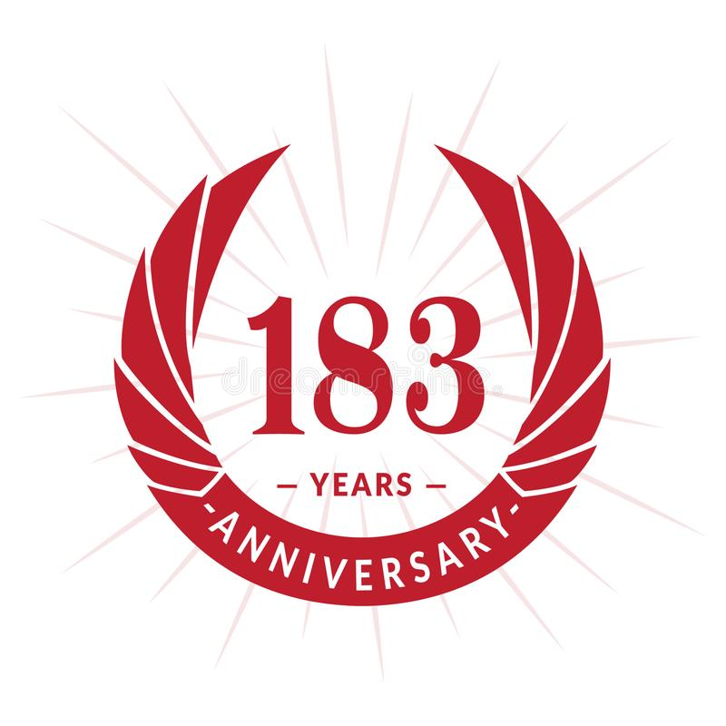 183 years anniversary design template. Elegant anniversary logo design. 183 years logo. 183 years anniversary celebration design template. 183years celebrating vector illustration