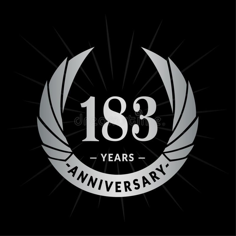 183 years anniversary design template. Elegant anniversary logo design. 183 years logo. 183 years anniversary celebration design template. 183years celebrating stock illustration