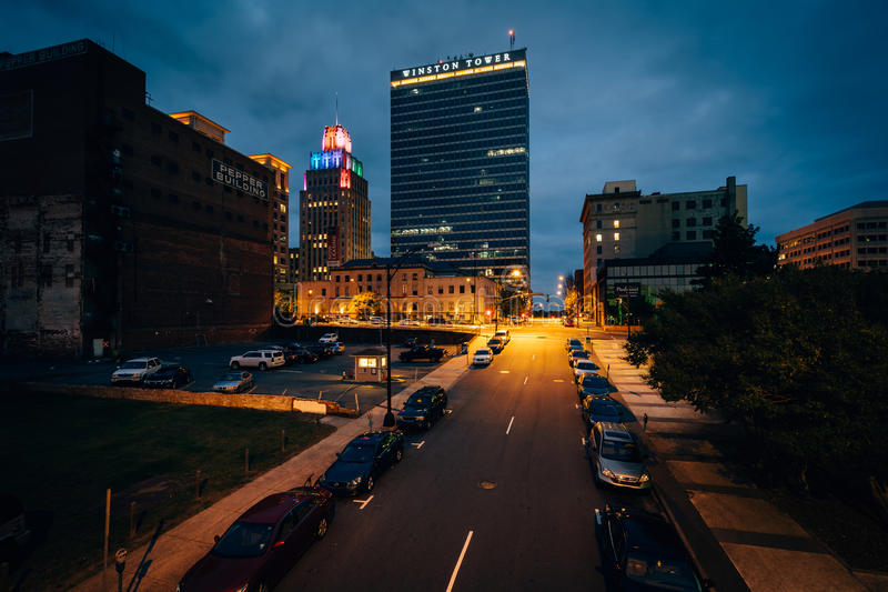 3rd Street and buildings at night, in downtown Winston-Salem, No. Rth Carolina stock photography