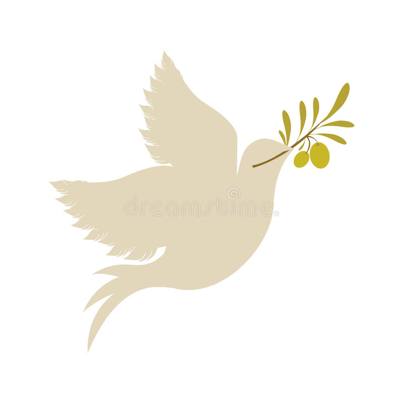 Rdove z gałązki oliwnej ikoną ilustracja wektor