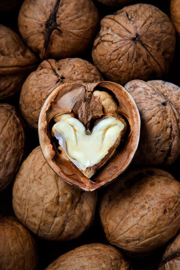 rdzeń serca krakingowego kształtny orzech włoski zdjęcie royalty free
