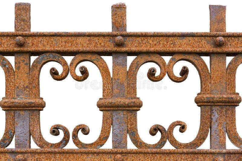 Rdzewiejący dokonanego żelaza ogrodzenie zdjęcie stock