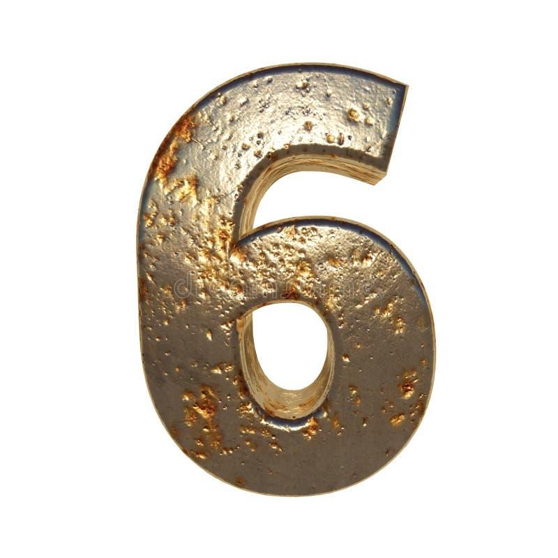 Rdzewiejący metal liczba 6 ilustracja wektor