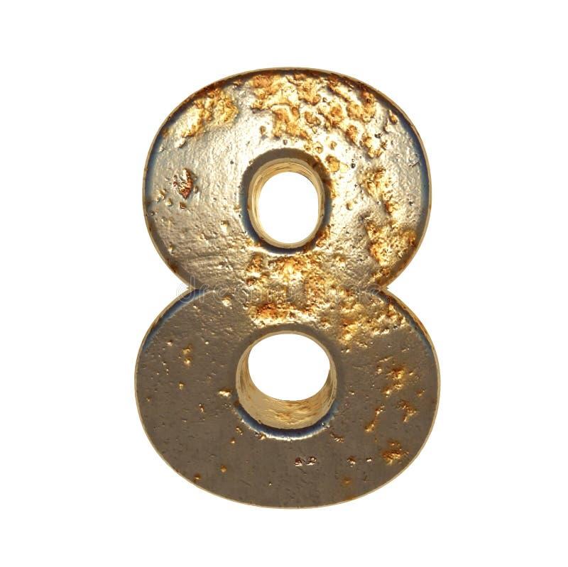 Rdzewiejący metal liczba 8 royalty ilustracja
