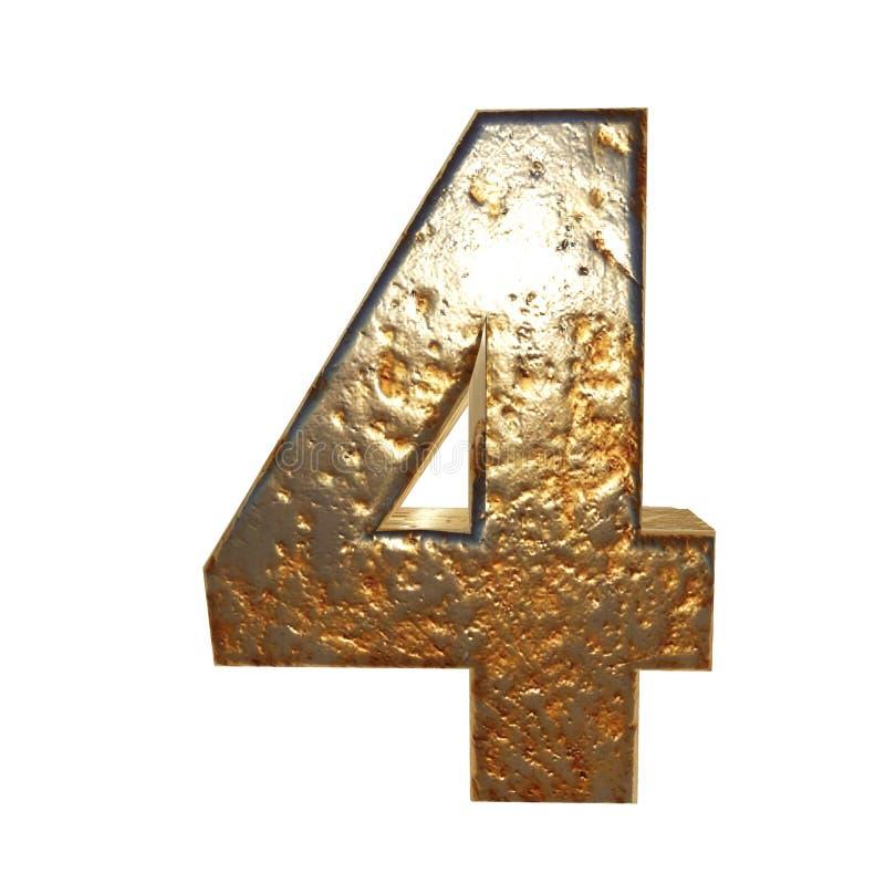 Rdzewiejący metal liczba 4 royalty ilustracja