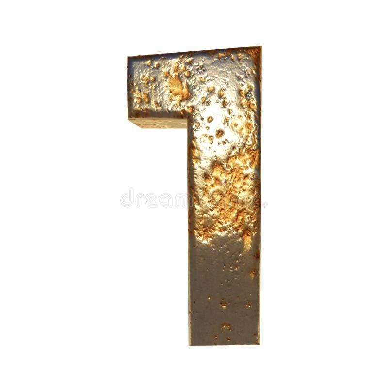 Rdzewiejący metal liczba 1 ilustracja wektor
