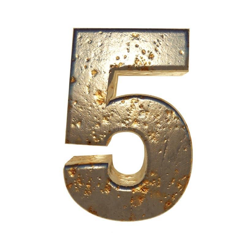 Rdzewiejący metal liczba 5 royalty ilustracja