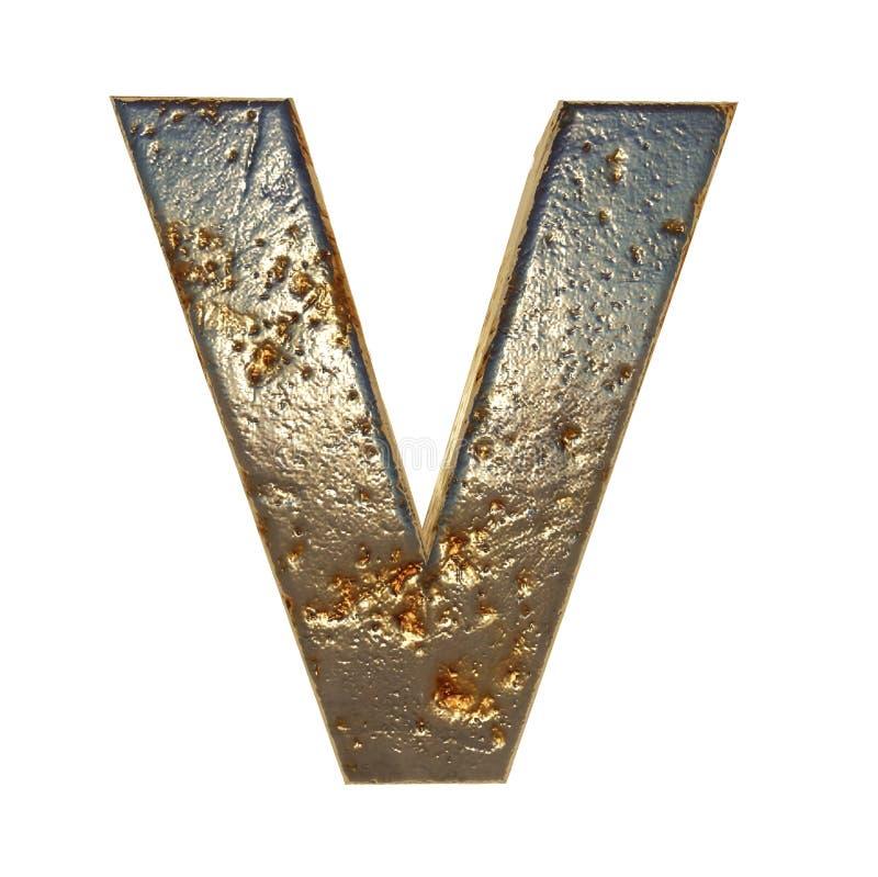Rdzewiejący metalu list V ilustracja wektor