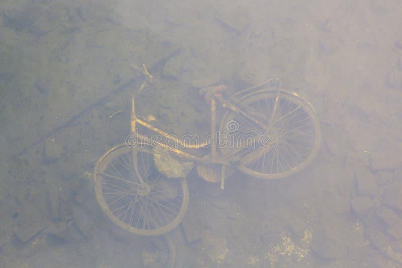 Rdzewiejący rowerowy widoczny w zamarzniętym stawie obraz royalty free