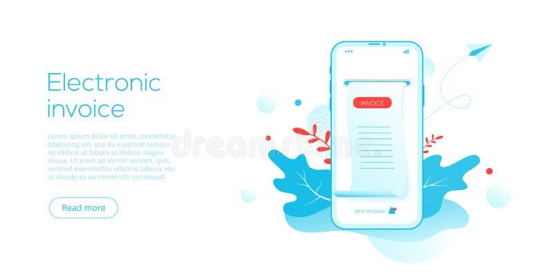 Reçu ou facture électronique dans l'illustration plate de vecteur Facture de Digital pour le concept mobile d'opérations bancaire illustration libre de droits