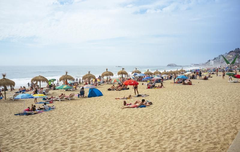 Reñaca Beach Chile. Reñaca Beach, Quinta Region, Chile. December 31, 2017. Popular summer resort on the central coast of Chile stock photography