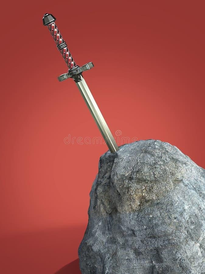 re Arthur del excalibur della spada ha attaccato nella pietra della roccia isolata rende metafora della prova del richiedente del illustrazione vettoriale