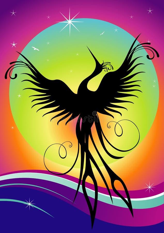 Re-birth da silhueta do pássaro de Phoenix ilustração stock